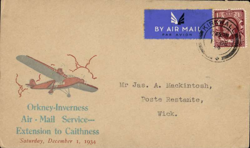 (GB Internal) Scarce 'Orcadian' Caithness envelope,Highland Airways F/F Kirkwall to Wick, bs,  rare grey/brick red 'Orcadian' Caithness envelope, franked 1 1/2d tying airmail etiquette. See Redgrove p49. Image.