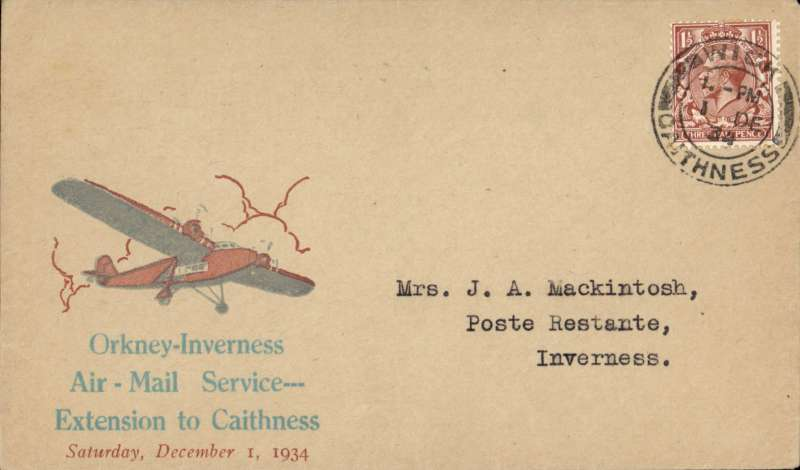 (GB Internal) Scarce 'Orcadian' Caithness envelope,Highland Airways F/F Wick to Kirkwall, bs,  rare grey/brick red 'Orcadian' Caithness envelope, franked 1 1/2d. See Redgrove p49. Image.