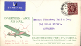 (GB Internal) Highland Airways, first southbound mail from Wick, red/green/cream Type ii 'John O'Groat Journal/First Air Mail from Wick/Order Your Christmas Number Now' cover, addressed to Glasgow, franked 1 1/2d, canc 'Wick/Caithness/ 30 NO 34'. A scarce item but it has a non invasive  2cm trianguler piece missing from the middle of the front top edge. See image.