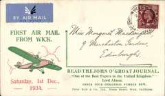 (GB Internal) Highland Airways, first southbound mail from Wick, red/green/cream 'John O'Groat Journal/First Air Mail from Wick/Order Your Christmas Number Now' cover, addressed to Edinburgh, franked 1 1/2d, canc 'Wick/Caithness/ 1 Dec 34'. Also the official insert giving details of the service printed in green on one side only (see Redgrove p47).A scarce item in fine condition.  Highland Airways was the first company to receive a contract from the Post Office for the regular conveyance of first class mail by air, no extra fee being charge for letters below 2 oz in weight. This was an extremely important event in the development of the GB Internal airmail system.