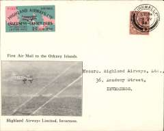 (GB Internal) Highland Airways F/F Kirkwall to Inverness , black/ivory company envelope printed specially for this flight showing plane in flight with two diagonal white lines across design and 'First Airmail to the Orkney Islands/Highland Airways Ltd, Inverness' and red/green/black imperforate vignette, franked 1 1/2d, canc Kirkwall/1.30pm/29 My 34 cds. Only 100 company covers with the special vignette were carried on this flight, which also meets Redgrave's criteria for a flown cover, see p43.