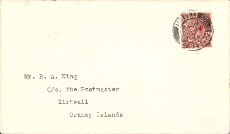(Ireland) Uncommon acceptance of mail from Ireland for carriage on the Highland Airways F/F Inverness to Kirkwall, bs 29/5, plain cover franked 1 1/2d, Image.