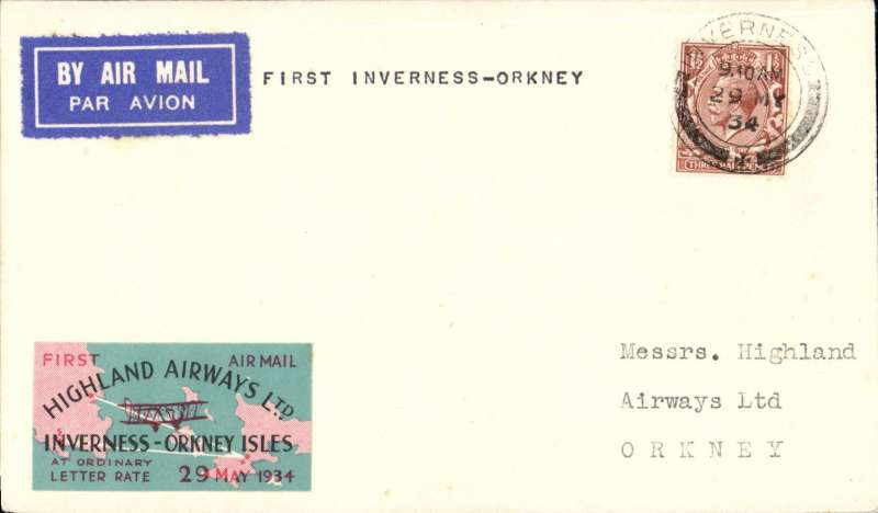"""(GB Internal) Highland Airways, F/F Kirkwall to Inverness, bs 29/5, plain cover franked 1 1/2d, pink/black/green 1st vignette. """"Covers bearing the vignette are considerably scarcer"""" see Redgrove, p43. Image."""