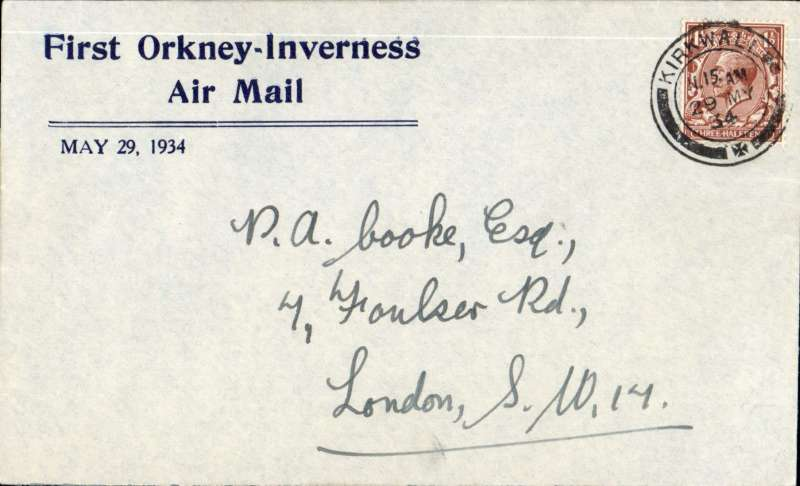 (GB Internal) Scarce Leonard's envelope, produced specifically for the first Highland Airways Orkney-Inverness air mail, and flown on the first day of this service from Kirkwall to Inverness and onward to London, franked 1 1/2d, fine strike Kirkwall/11.15am/29 MY/1934, in fine condition with Francis Field authentication hs verso. Printed by the Orkney Herald Printing Press for Leonards Stores, Kirkwall, and sold for 1/2d each. Nice item. Image.