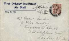 (GB Internal) Rare pilot signed Leonard's envelope, produced specifically for the first Highland Airways Orkney-Inverness air mail, and flown on the first day of this service from Kirkwall to Inverness and onward to London, franked 1 1/2d, fine strike Kirkwall/11.15am/29 MY/1934. Signed by the plot of the south-bound plane, Flying Officer EH Coleman. Closed top edge tears visible front and verso. see images. Printed by the Orkney Herald Printing Press for Leonards Stores, Kirkwall, and sold for 1/2d each. Image.