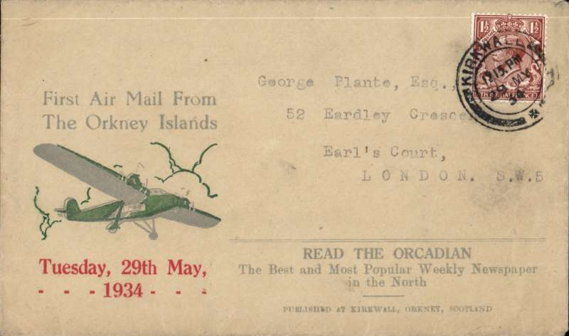 (GB Internal) Orcadian envelope Type 1 'First Air Mail From/the Orkney Islands' advertising envelope produced by the Orcadian Newspaper flown on the Highland Airways first flight from Kirkwall to Inverness, and onward to London, franked 1 1/2d, good strike Kirkwall/12.15pm/29 MY/1934. Image.