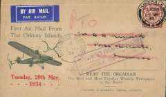 (GB Internal) Orcadian envelope Type 1 'First Air Mail From/the Orkney Islands' advertising envelope produced by the Orcadian Newspaper flown on the Highland Airways first flight from Kirkwall to Inverness, bs 29/5, franked 1 1/2d, good strike Kirkwall/1.30pm/29 MY/1934. Returned to Kirkwall at the instructions of the sender. Image.