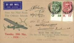 (GB Internal) Pilot signed Orcadian envelope Type 1 'First Air Mail From/the Orkney Islands' advertising envelope produced by the Orcadian Newspaper flown on the Highland Airways first flight from Kirkwall to Inverness, bs 29/6, and returned to Kirkwall 1/6, signed by the pilot Flying Officer E H Coleman R.A.F.C. Also the official insert giving details of the service printed in blue on one side only (see Redgrove p47). Image