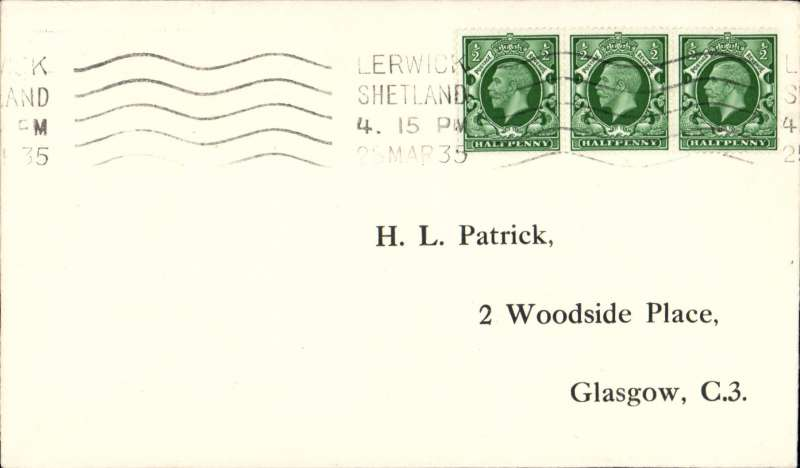 (GB Internal) Accelerated service from Shetlands, first acceptance from Lerwick for the Kirkwall-Inverness airmail service, Highland AW. Printed Patrick cover as illustrated Beith p9. First official airmail to make use of steamer, rail and air services.
