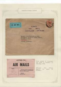 (GB Internal) F/F Highland AW Ltd Inverness-Kirkwall, uncommon blue/black three line 'First/Air Mail/Scotland Orknies' cachet. Also official used PO waybill for mails to KIrkwall, Both neatly mounted and written up on album leaf. Image.