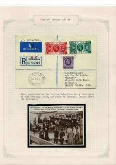 (GB Internal) British Industries Fair, registered (label) airmail cover with special Fair postmark flown to Kirkwall 27/2 via Inverness, franked 1d& 1/2d SJ and 3d ordinary. Also 8x10cm Birmingham Gazette sepia picture of busy PO counter at the Fair. Unusual item attractively presented on album leaf.