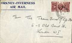 (GB Internal) Scarce Leonard's 'Orkney/Inverness/Air Mail' envelope, posted Kirkwall 5/7/35 franked 1 1/2d SJ, a bit crumpled verso. See image.