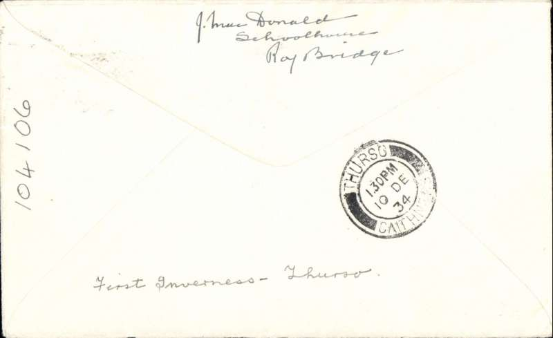 (Collections) Scarce first acceptance of mail for Thurso for carriage on Highland Airways Inverness-Wick-Kirkwall service, Inverness to Thurso, bs 10/12, plain airmail etiquette cover  franked 1 1/2d canc Inverness 10/12 machine postmark.