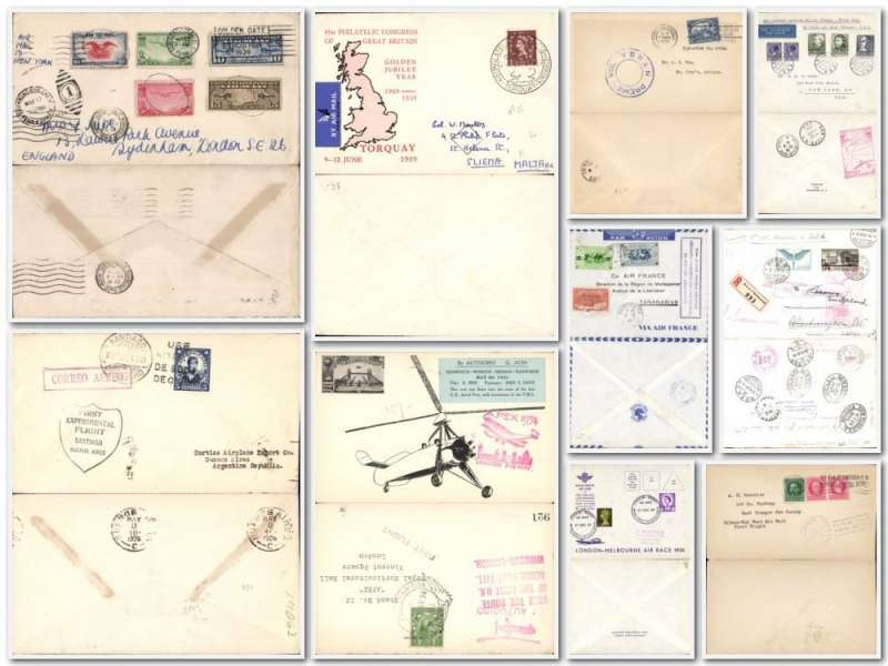 (Collections) World assortment of 20 early flown covers from 1927 inc 16 first flights, noted 1927 25/10 Habana-Key West, 1928 8/5 Doolittle Santiago-Buenos Aires, 24/2 Santiago de Cuba- Havana, 13/4 Yukon AW Carcross-Atlin, 1930 7/3 NYRBA Port au Prince- St Johns, 15/5 London-Berlin night flight, 1934 31/12 pilot signed Hokitika-Okuru, 1939 23/5 Netherland and Switzerland acceptances for first North Atlantic service to USA. Also other interesting from Congo to GB via Imperial AW, Ethiopia censored and 31/3 F/F Reunion-Madagascar, GB FDI 1948 29/7 Olympic set on registered cove to Peru bs. Full of interest. Images.
