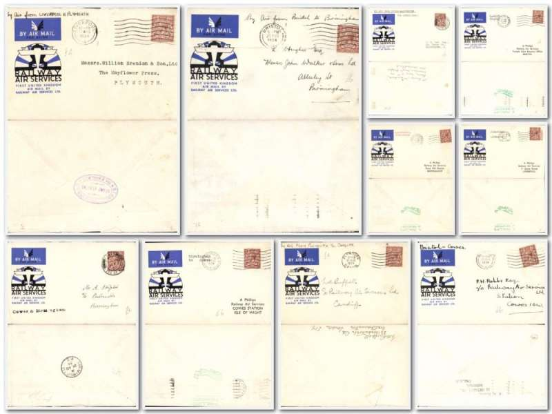 (Collections) Great Britain  Railways Air Service, 1934 ten first flights, all official covers, Cowes to Birmingham, and Manchester, Plymouth to Cardiff and Liverpool, Manchester to Birmingham, Birmingham to Cowes, Bristol to Birmingham and Cowes, Cardiff to Bristol, all fine. Image.