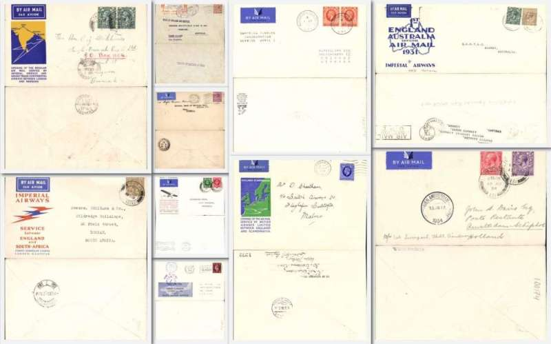 (Collections) Great Britain, collection of ten 1930's first flights including 1931 4/4 1st England-Australia, 1932 20/1  London-Cape Town, 1933 22/9  London-Rangoon, 1933 23/11  GWR Plymouth-London, 1934 13/8 Liverpool-Amsterdam, 1934 1/12 Wick-Inverness Cross cover, 1935 1/4 London-Cologne, 1936 17/3 London-Malmo, 1936  8/2 London-Kano, and 1938 3/10 NEA Leeds to London. All fine with back stamps, nice selection of  and  flight cachets and souvenir covers. Attractive lot. Images.