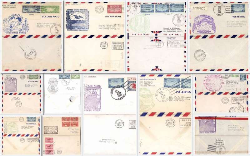 (Collections) Pan American AirwaysTranspacific flights, 12 F/F covers including 1935 22/11 San Francisco-Manila, 22/11 SF-Honolululu, 3/12 Guam -SF, 2/12  Manila-SF, 1937 27/4 Guam-Hong Kong, 1940 12/7 LA-Canton Is, 22/7 Canton Is-SF, 12/7 SF-Auckland, and 14/7 Hawaii to Auckland, to New Caledonia, to Canton Is and 1947 23/2 to Sydney. All fine with official F/F cachets, and back stamps. Life size front and back images of all items.