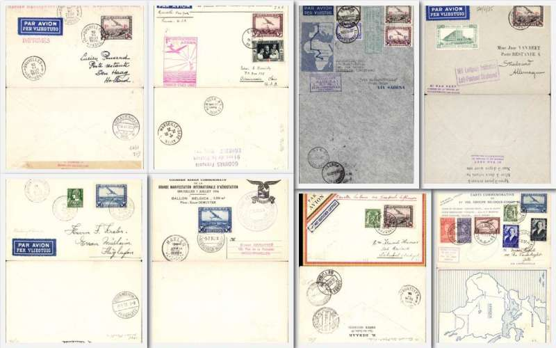 (Collections) Belgium, selection of eight 1930s airmail covers including 1934 22/11 first flight Belgium to Elizabethville and return, 1935 20/6 Brussels to Stralsund with fine 1935 exposition label , 1935 10/6 first night flight Brussels to Amsterdam, 1935 14/7 Anvers Meeting with fine strike of the special Andreas Airport expo cancel, 1936 5/7Ballon Belgica card with special cancellation , 1936 18/11 first DHL flight from Brussels to Lisbon, 1937 25/10 Missionary flight to Leopoldville and return by 'Phalene' aeroplane, 1939 23/5 Belgian acceptance for the Pan Am first transatlantic flight from Marseille to New York. Image.