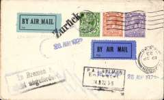 (GB External) A challenging Instone Air Line cover, 1923 London to Bremen and return, plain cover franked 1/2d canc London 13/23 cds with a wealth of cachets, date stamps and  handstamps requiring interpretation by a specialist, viz on the front 28 Aug 1923 hs, 15 Sep 1923 hs, London/19 SP 23/FS 20 Military Air Service Cologne (London cds receiver), an unusual 'PA Bremen/******/14/9/23' black frame hs, a blue framed 'In Bremen **/**icht abgefoder' cachet and bold 'Zuruck' hs tying a pale blue/black P25 airmail etiquette and the the outgoing cancellation. and a dark blue/black airmail etiquette tied by the London 'S.20' receiver. Verso there is a fine purple/black 'Mit Luftpost .befordert/Postamt 1, Bremen' cachet.. A great 
