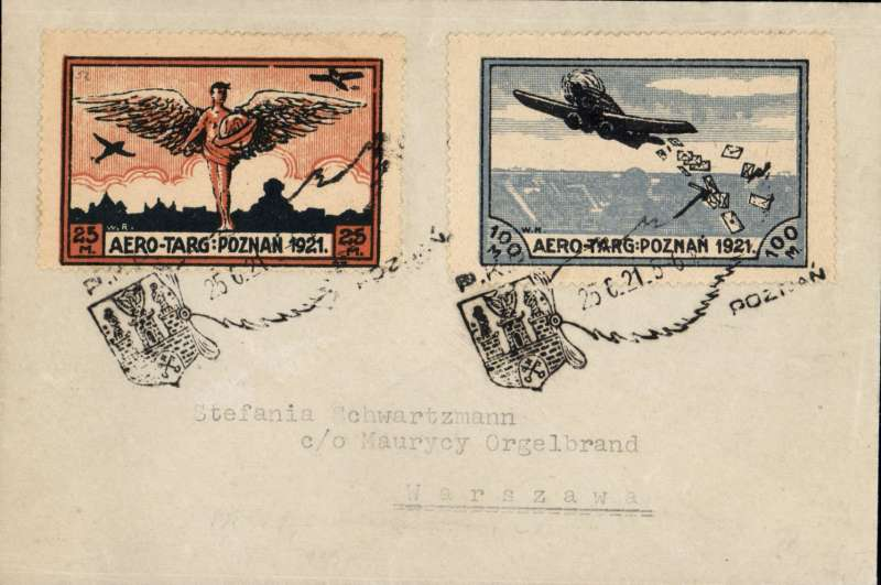 (Poland) Poznan Fair Special Airmail Flights, Ldz to Poznam, cover franked 25m and 100m special semi-official perforated vignettes tied by a special cancellation, in black, of winged device contaning the arms of the town, date, and the letters P.K.F. Image.