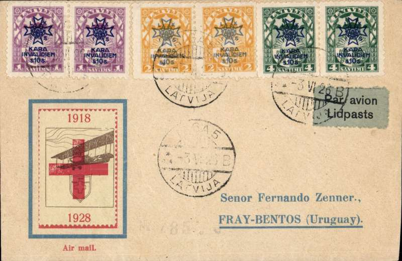 """(Latvia) Early air cover addressed to Uruguay, franked pairs of the 1923 War Invalides Charity set canc Riga cds, violet circular """"Derluft-Riga"""" cachet verso, light grey blue airmail etiquette rated very scarce by Mair, printed souvenir cover with green/yellow vignette with biplane and Riga/Lucerne and a cross inside a shield. Image."""