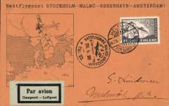 (Finland) Scarce Finland acceptance for the F/F Stockholm to Amsterdam night time service Mu 81, printed orange/black souvenir card with map, franked 2M Finland canc Helsinki 28/6 cds, also special black circular flight postmark. Image.