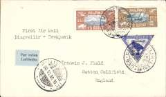 (Iceland) Thingvellir to Reykjavik, 26/6/ arrival ds on front, plain cover franked 1938 Parliamentary 15a and 20a airs (SG 174&175, cat 330+£28 used. and 1930 10a Falcon air (SG 173, cat £30 used). See Luning 1978 #10B, cover alone cat 70 USD. A scarce item in pristine condition.Image.
