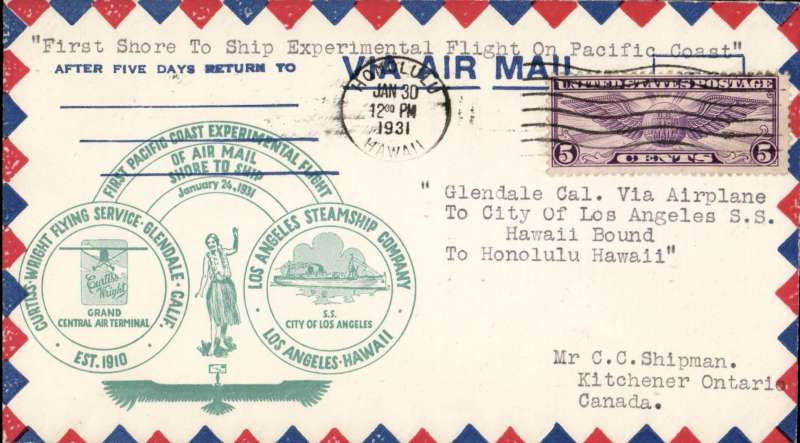 """(Ship to Shore) F/F  Pacific Coast Experimental shore to ship flight from S.S."""" City of Los Angeles"""", LA Steamship Company  to Hawaii, special cachet, magenta"""" SS City of Los Angeles Reception"""" h/s, and Honolulu arrival cds. Image."""