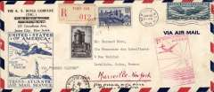 """(United States) Double Pan Am F/F FAM 18 Southern( North) Atlantic route, New York-Marseilles, bs 22/5, and return from Marseilles to New York, bs 25/7, airmail cover, 20x11cm, franked US 30c air, canc New York 20 May 1939 cds, blue framed """"United Sates f America/First Flight FAM 18/Trans-Atlantic Service"""", then refranked 15F French stamps canc Paris 24/5/39 cds, and returned by registered (label) mail on F/F FAM 18 Marseilles-New York, red framed """"1er Service Postal Aerien/France-Etats Unis""""."""