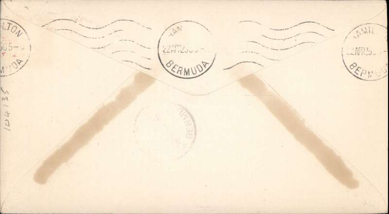 """(Airship) Airship USS """"Los Angeles"""", Lakehurst to Hamilton (Bermuda),bs 22/4, franked 2c rate, canc red """"New York  Airmail Service"""" cds, plain cover."""