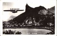 (Ephemera) Do X flying over the harbour at Rio de Janeiro June 1931, classic B&W photocard. Verso dual censored correspondence 20/5/1944 New York bearing two Brazil and one US censor marks. Image.