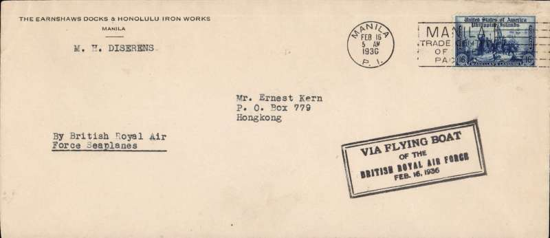 (Flying Boats) RAF Flying Boat, Manila to Hong Kong, bs 16/2, cover franked 16c, fine strike black framed cachet, b/s, airmail cover. Image.