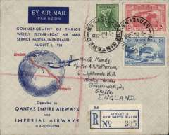 """(Australia) First Thrice Weekly Flying Boat Air mail Service Australia/England, Sydney to London, franked 5d, attractive blue/red/grey """"globe"""" souvenir cover with IAW logo verso, Imperial Airways/Qantas. Posted on the the day of the introduction, in Australia, of the third stage of the """"All Up"""" scheme. But Australia adopted a reduced rate of 5d per 1/2oz, although the GB-Aust. rate was 1 1/2d. The flying boat was """"Coriolanus"""". Image."""
