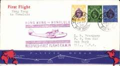 (Hong Kong) Pan Am pioneer Trans-Pacific service FAM 14 F/F Hong Kong to Honolulu, bs 2/5, official violet flight cachet.. Image.