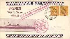 (Ship to Shore) German N. Atlantic Catapult, westbound cover flown from SS Bremen into New York, bs 27/5, attractive cream/brown-black borders Roessler cover franked US 20c, canc 'US Ger .Sea Post/SS Bremen', fine strike circular red flight cachet, and first use of directional cachet  'Mit Vorausflug nach Southampton'. Image.