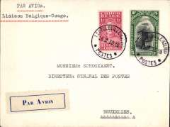 "(Belgian Congo) Fabry and Vanderlinden interrupted return flight, Leopoldville to Brussels (bs 1/3/31). The flight return flight had to terminate at Fort Lamy where mail was forwarded by surface to Belgium, Ni 301217. Official cover from Director General of Congo Posts and Telegraphs, embossed logo on flap, addressed to Director General of Posts, Brussels, correctly rated Congo 5f Air+ 1F, typed ""Par Avion/Laison Belgique-Congo"", blue/white etiquette BCO-A-1, rated rare by Mair. Nice item with a particularly good provenance. Image."