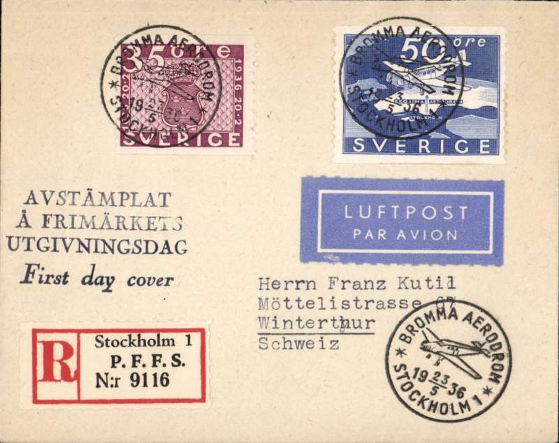 (Sweden) Opening of Bromma Airport, Stockholm to Copenhagen, b/s, reg (label) souvenir cover franked FDI 50o commem stamp tied special depart ds. Image.