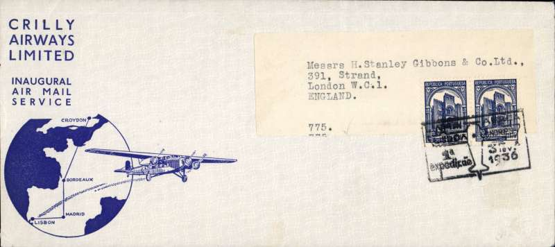 """(Portugal) Crilly Airways F/F Lisbon to London, no arrival ds, official illustrated souvenir cover showing map of route and Air Liner """"Lisboa"""". Image."""