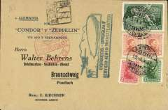(Airship) Uruguay dispatch, special printed cover, carried on return 4th SAF, Friedrichshafen 10/5 arrival ds verso, green flight cachet on front. Image.