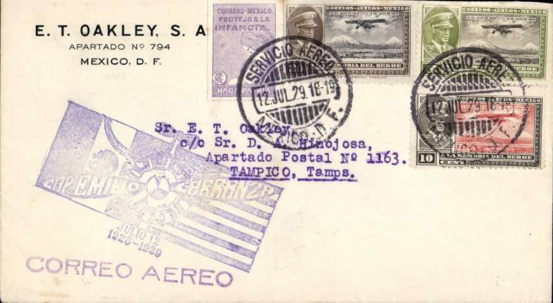 (Mexico) Special flight to commemorate the lfe of the famous Mexican pilot Emilio Carranza,  corner cover franked 35 c and a small 'Save the Children' vignette all tied by 'Servicio Aereo/Mexico DF' cds, fine strike large blue commemorative hs.