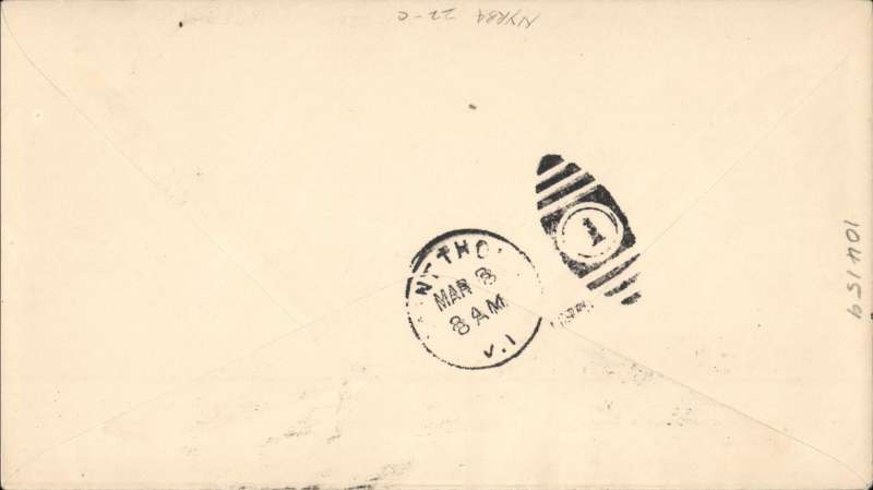"""(Haiti) First Southbound Dispatch, Port au Prince to St Thomas (Virgin Is), blue double circle """"Premier Vol NYRBA"""" cachet, b/s, plain cover fraked 25c, New York Rio and Buenos Aires Airline, scarce. Image."""
