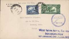 """(Haiti) F/F, Port au Prince to Santiago de Cuba, Feb 28, and then on to Ironton, Ohio ,Mar 4, blue three line"""" West Indian Aerial Express"""" and cicular """"Avion"""" hs, EA Colson corner cover, West Indian Airways Express. Image."""