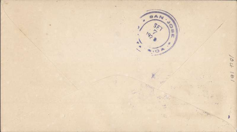 """(Costa Rica) The Central American Flight of the Mexican Aviator Roberto Fierro, plain cover , franked 5c, canc fine strike blue double ring tablet style undated cachet  """"Correos de Costa Rica/Homenage al Aviator/Mexicano - Coronel/Roberto Fierro"""", verso magenta double ring """"San Jose/Set 7 1928/Costa Rica"""". It is known that Fierro took off from Costa Rica on Sep 8th on the last stage of the tour and landed in Albrook Airfield in Panama at 12.00 the same day. Image."""