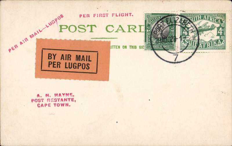 (South Africa) First South African Internal Airmail Service. F/F Port Elizabeth to Cape Town, bs 30/8, PC correctly rated 5d, Union Airways (PTY) Ltd. Image.