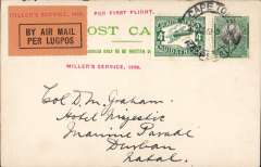 "(South Africa) F/F  Regular Airmail Service in South Africa, Cape Town to Port Elizabeth, no arrival ds, uncommon red st. line ""Miller Service, 1929"", ""Per First Flight"" and ""Per Air Mail-Lugpos"" cachets, PC franked 4 1/2d. Image."