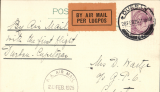 (South Africa) Experimental Flights between Cape Town and Durban March-June 1925, first return from Durban to  Cape Town, PC correctly rated 2d,  black double ring 'SA Air Mail/AA Lugpos/ 28 Feb 25 'on front.