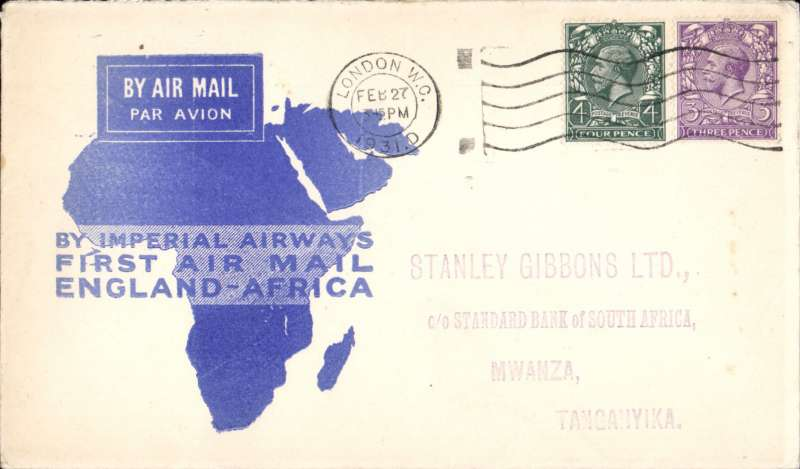 (GB External) F/F London to Mwanza, fine strike 10 MR 1931 arrival cds verso, official white/blue map cover, Imperial Airways.