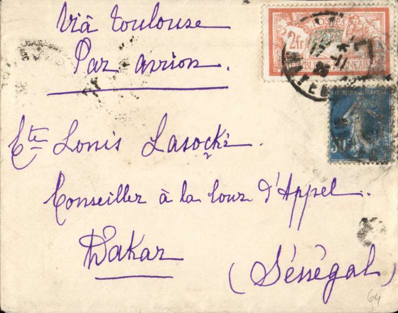 (France) Early airmail from Bayeux to Dakar, bs 25/11, plain cover franked Merson 2F (SG287 cat £26 used) and 30c Sower, ms 'Via Toulouse/Par Avion'
