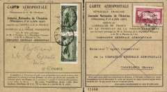 (France) Vincennes Air Meeting, special card flown Vincennes to Casablanca, and return, franked FDI France red 1F 50c air, and 2x 75c Morroco airs verso, both canc cds. Image.