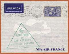 (Algeria) Air Afrique, F/F Alger to Oran, bs 15/4, Air France orange border cover franked 1F50, canc Le Bourget cds, fine strike large green triangular flight cachet. Image.